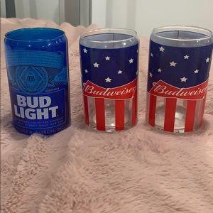 """2 Budweiser 1 Bud light glass """"beer can """""""